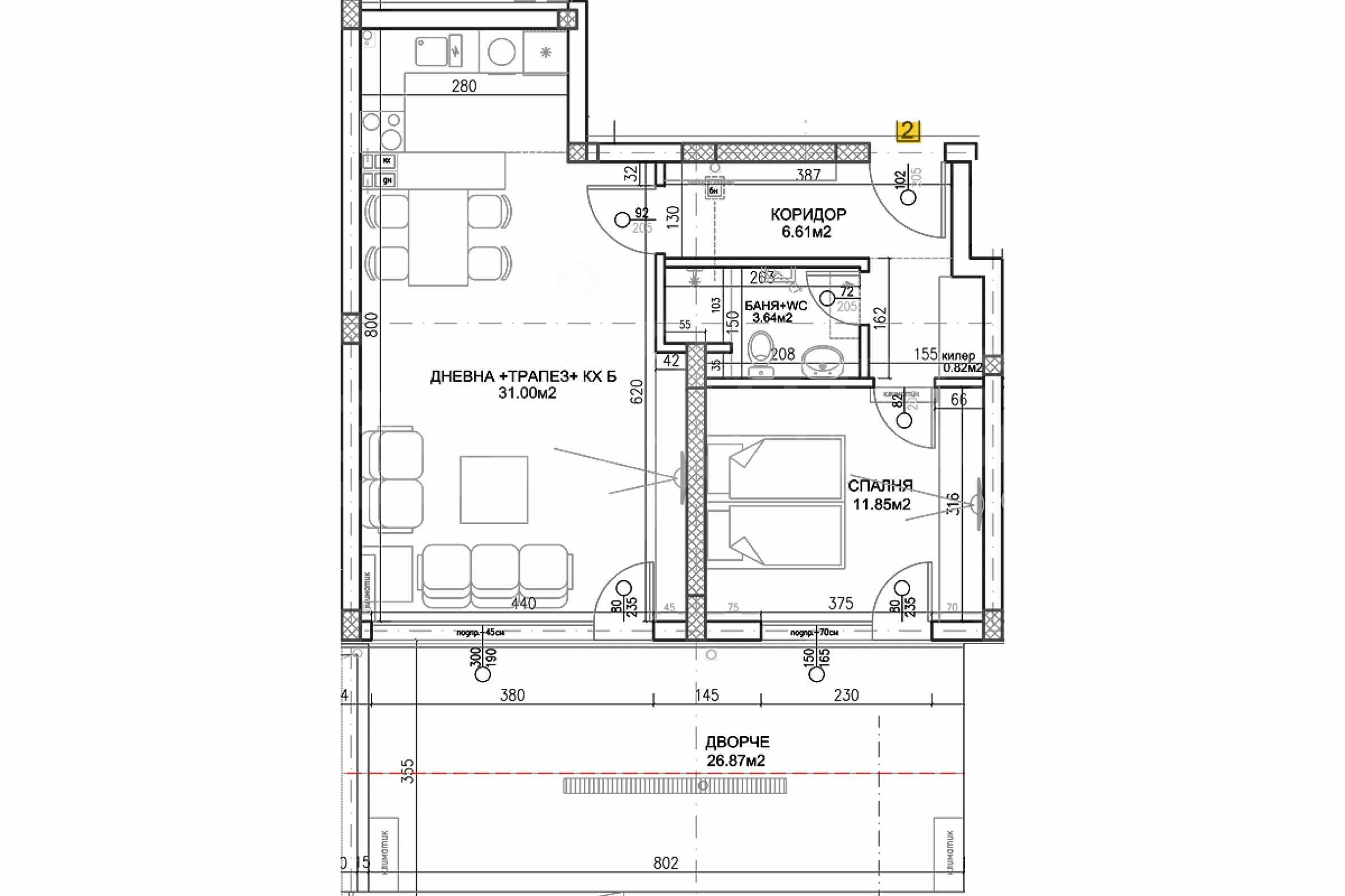Двустаен апартамент в луксозна жилищна сграда на комуникативна локация в гр.Пловдив 13