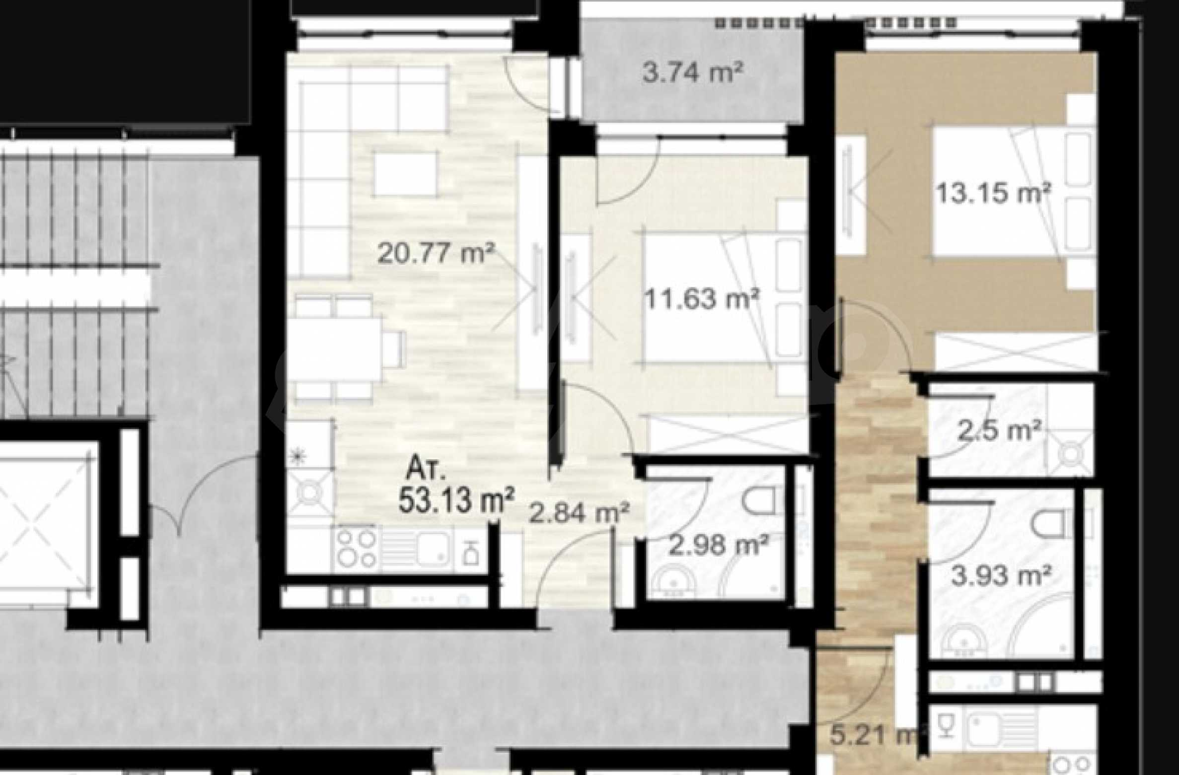 One bedroom apartment next to the park, Mall Sofia and metro station 1