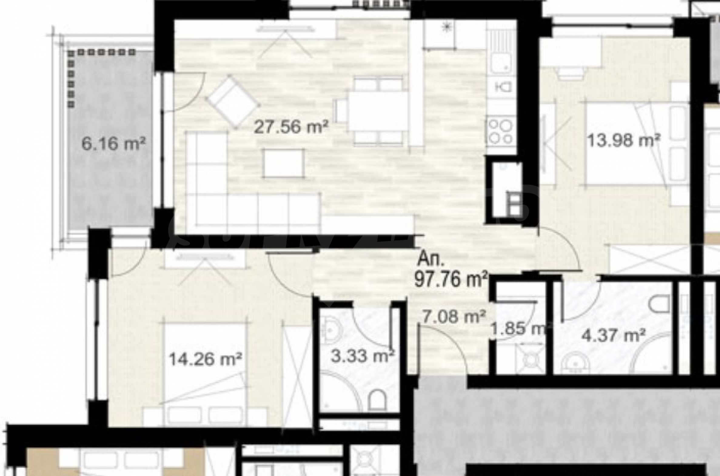 Two bedroom apartment in a new building next to the park, Mall Sofia and metro station 1