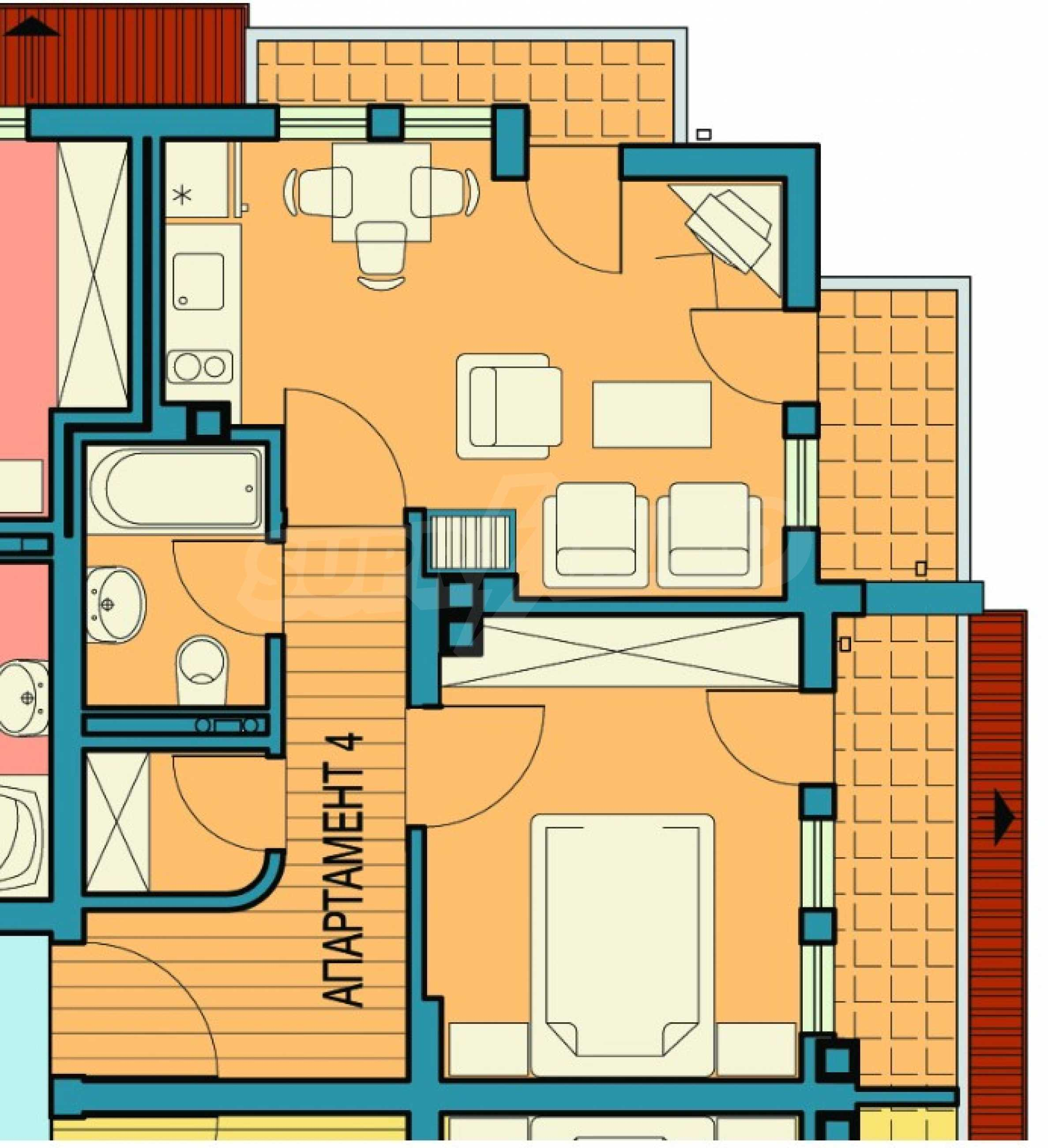 Двустаен апартамент с тераси в нова сграда до парка в центъра на Банско 1