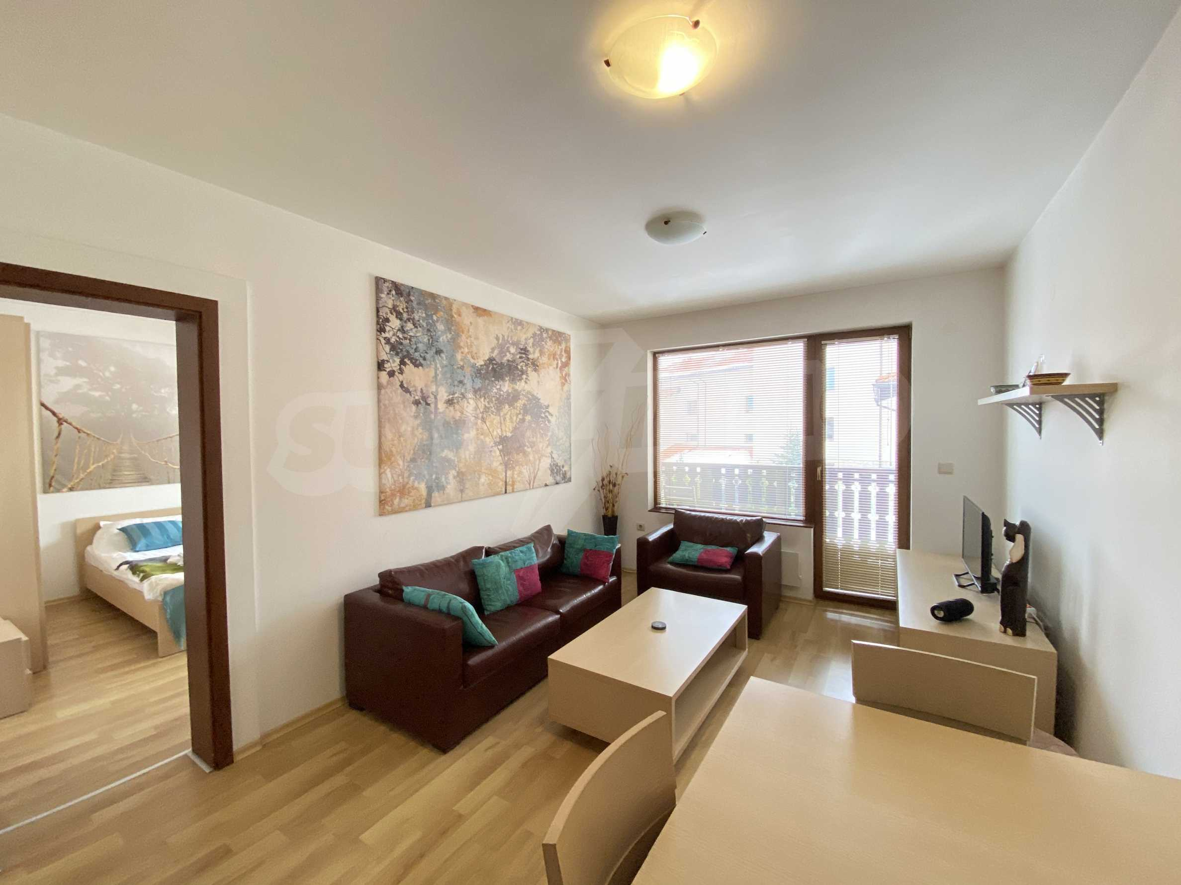 Furnished two-bedroom apartment located in a gated complex, just meters from the ski lift in Bansko 2