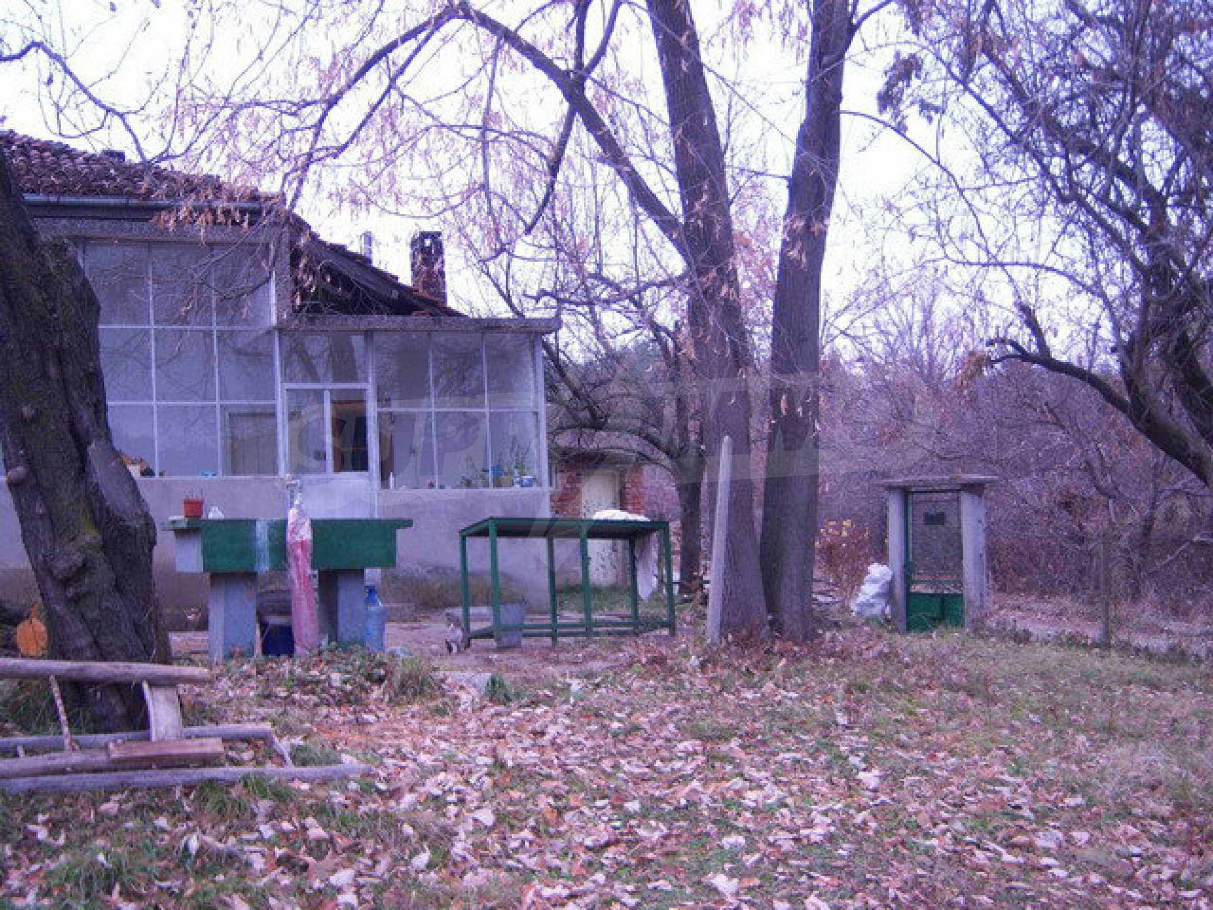 Одноэтажный дом около леса и у подножия гор.   2