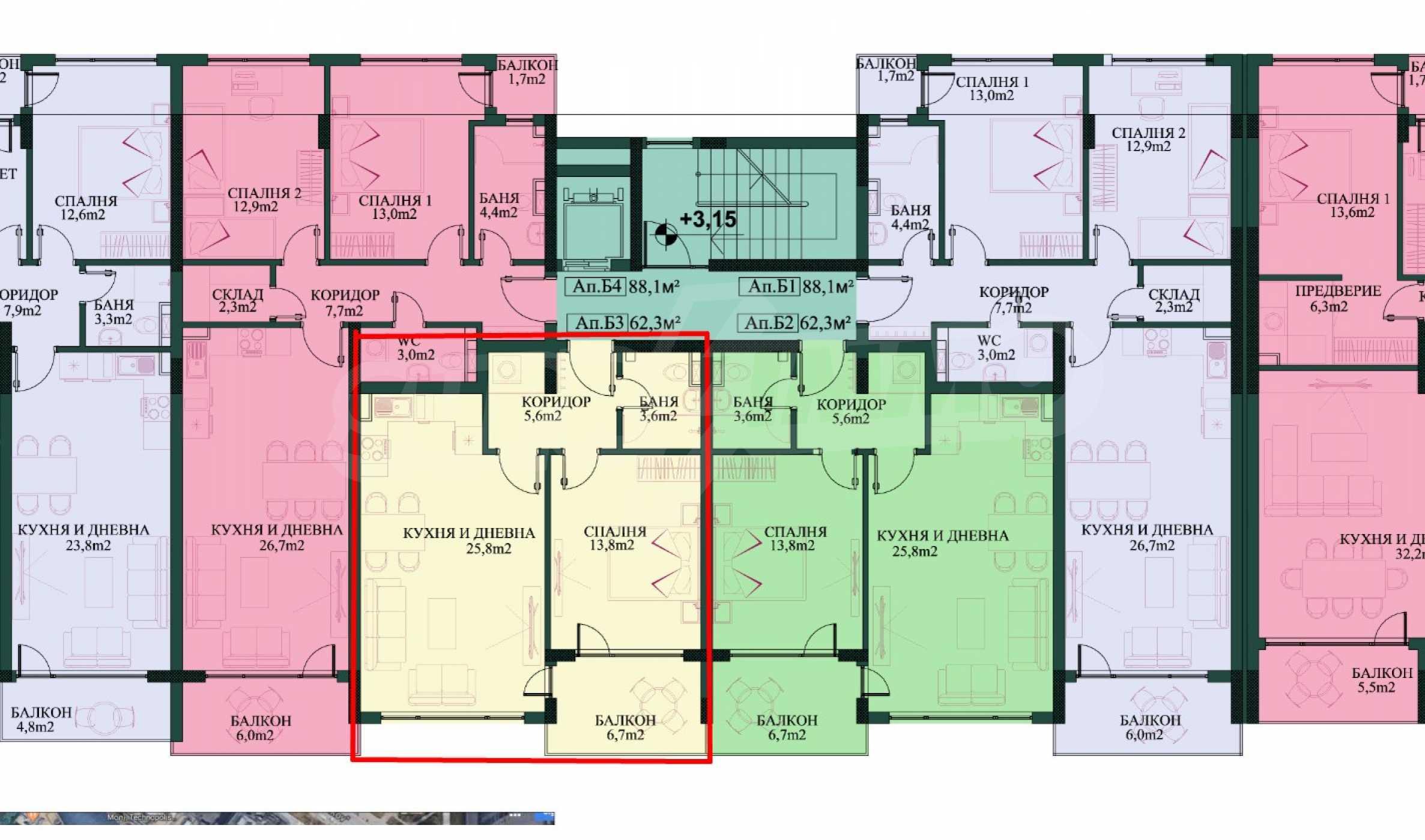 Двустаен апартамент в нова сграда на тиха улица до бул. България 2