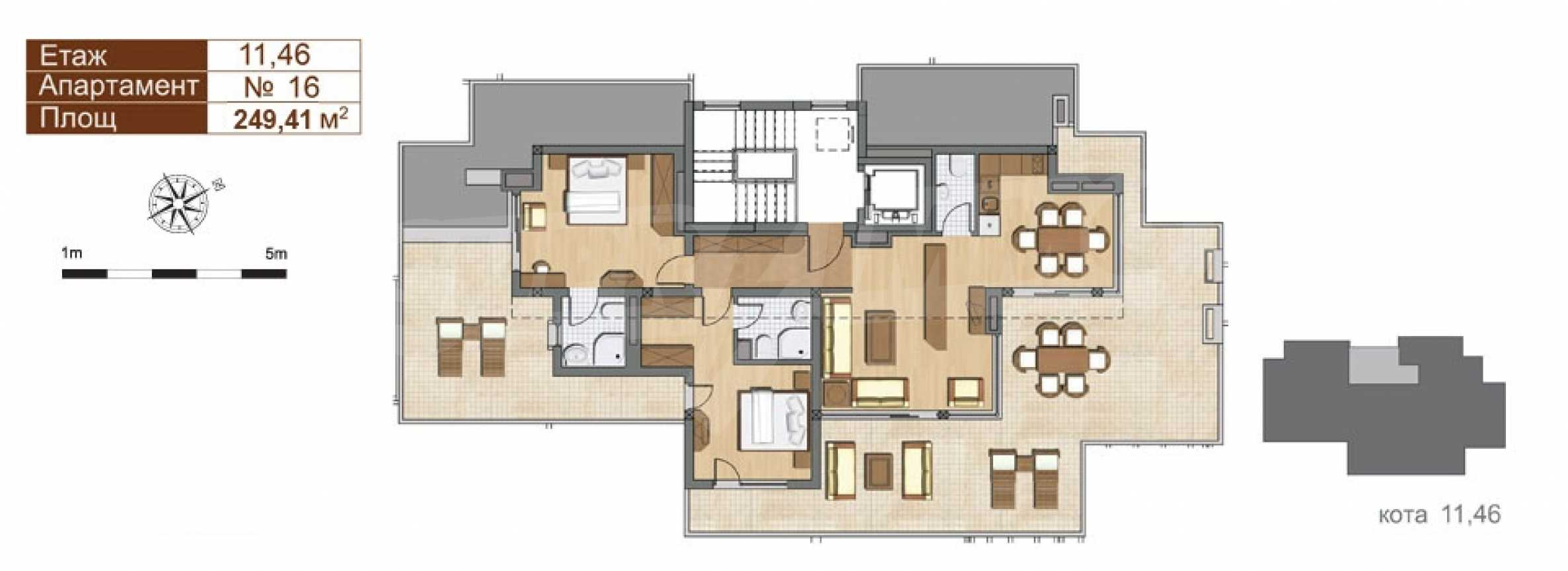 Прекрасная трехкомнатная квартира с видом на море на первой линии 8