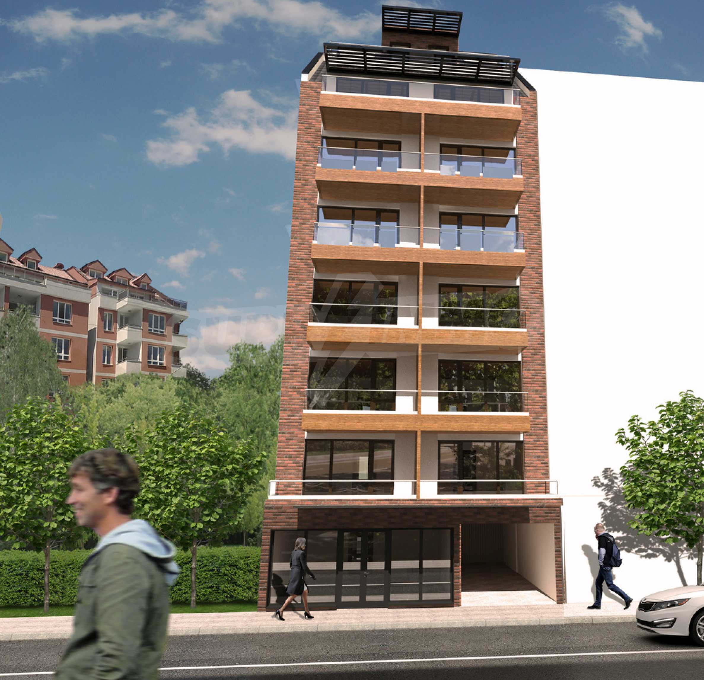 High-rise residential building with one-bedroom apartments in the wide center 2