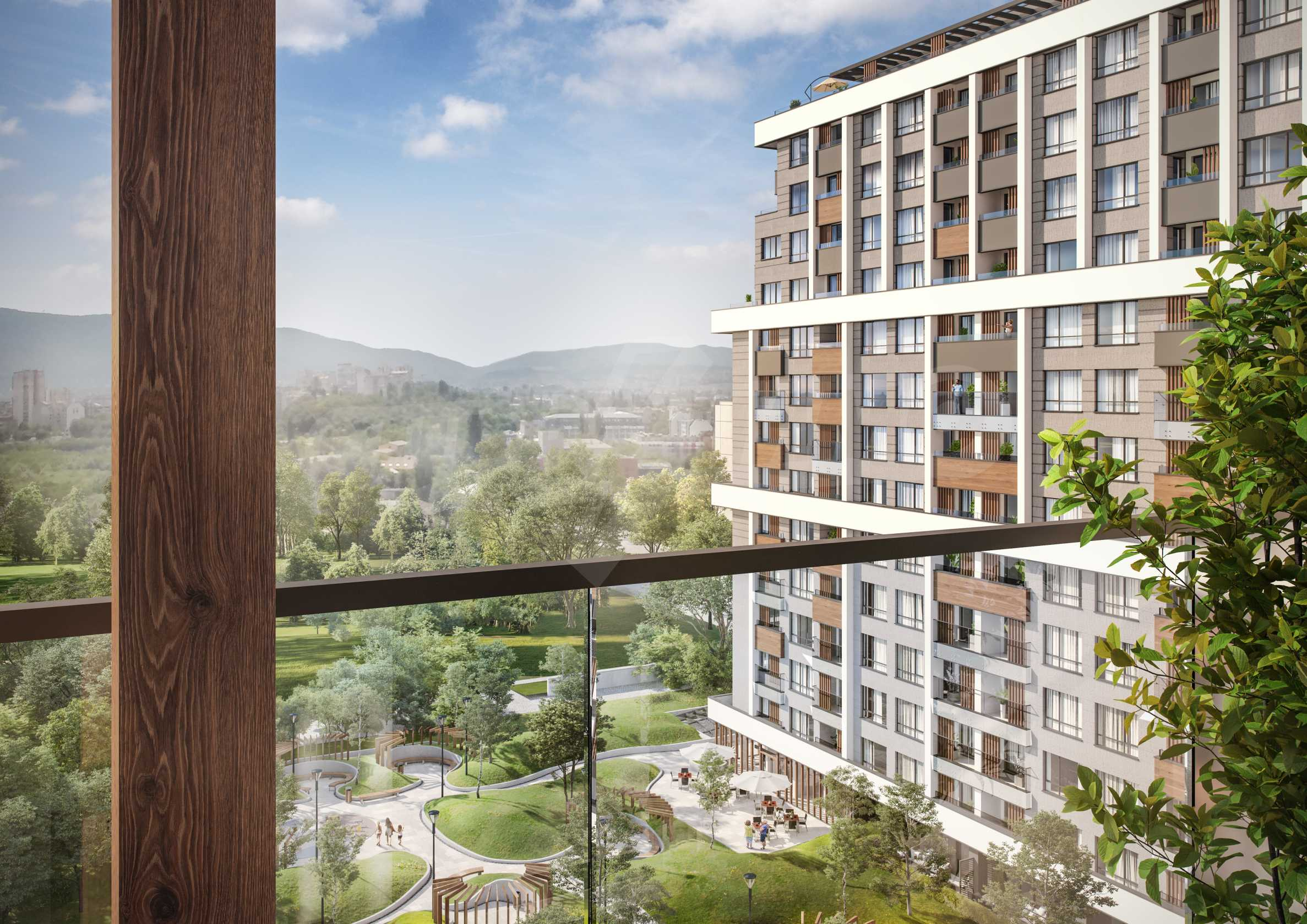 Two bedroom apartment overlooking a new building next to a park, Mall Sofia and metro station 2