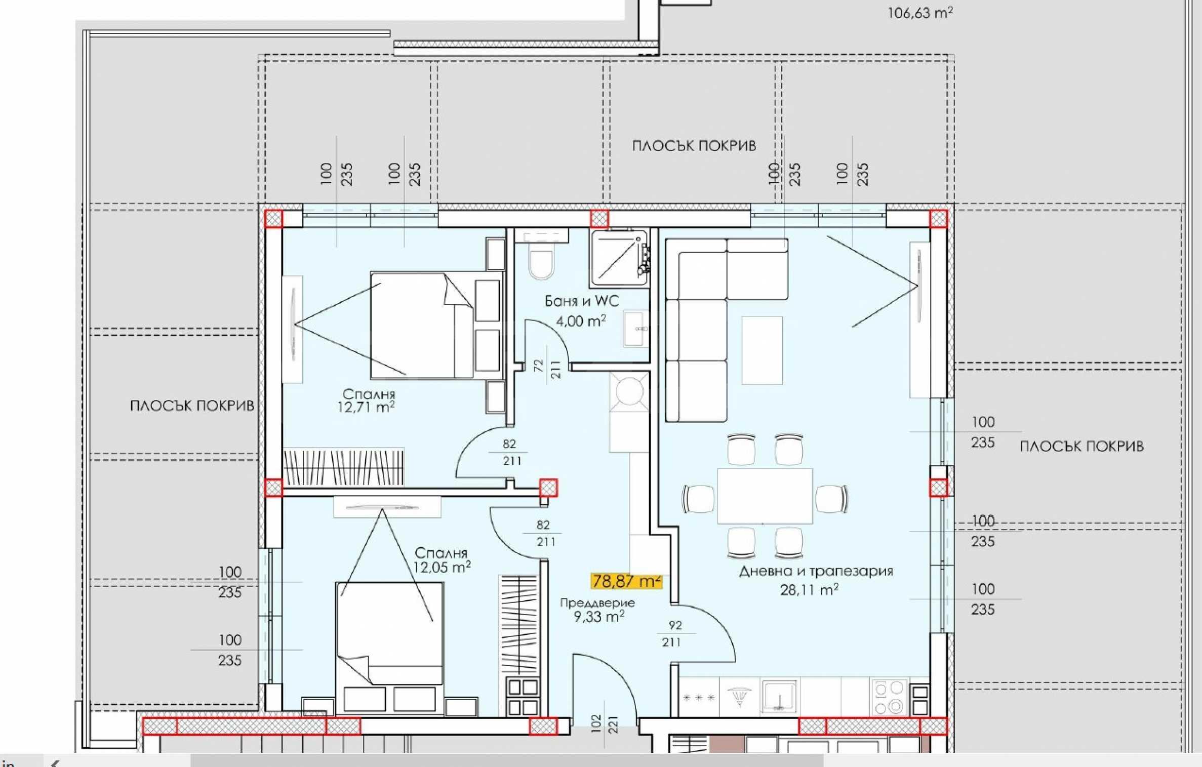 Трехкомнатная квартира с большой террасой на крыше в бутиковом комплексе рядом с гребной базой 1