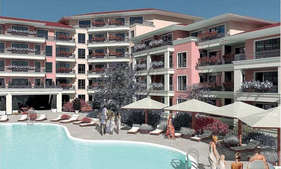 Neue Feriensiedlung mit Apartments zum Verkauf neben dem Park des ehemaligen Sanatoriums