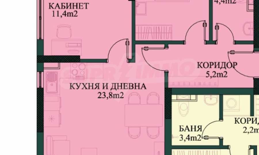 """New 3-bedroom apartment in a residential building near """"Bulgaria"""" Blvd. 1"""